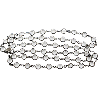 Vintage KJL Yard Of Crystals Necklace In Japed Metal