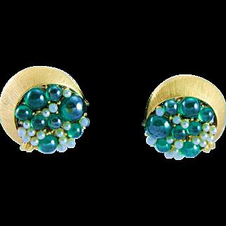 Tortolani Green Fish Bubble Gold White Clip Earrings