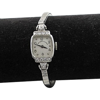 Vintage Hamilton 14K White Gold & 14 Full Cut Diamons Watch