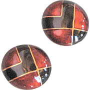 Large Button Black & Rust Enamel Clip Earrings