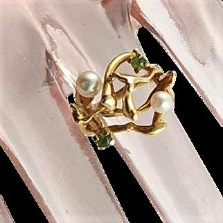 Stunning Artisan Made Gold Vermeil Cultured Pearls & Peridot  Ring