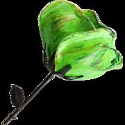 Mid Century Paper Mache & Metal Flower Brooch