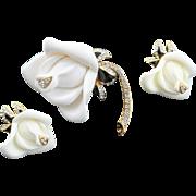Wonderful Kenneth Jay Lane (KJL) White Rose Brooch & Earrings