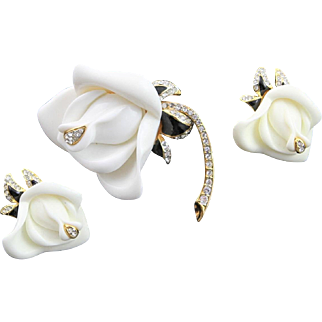 Wonderful Kenneth Jay Lane (KJL) White Rose Brooch & Earrings