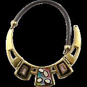 Vintage Bench Made Solid Brass & Enamel Necklace