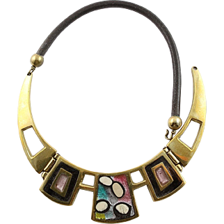 Vintage Bench Made Solid Brass & Enamel Necklace