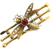 Antique 18K Fly, Bug Pin