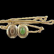 Vintage Jade & Gold Plated Brass Locket & Chain Necklace