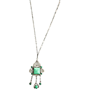 Antique Silver & Green Glass Jade Stone Necklace