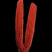 Vintage Coral Twenty Eight Strand Necklace