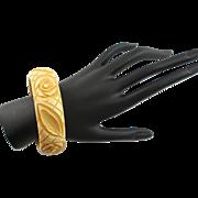 Vintage Carved Caramel Colored Heavy Carved Bangle Bakelite Bracelet