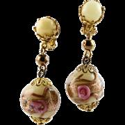 Antique Venetian Wedding Cake Glass Bead Earrings