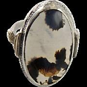 Handsome Vintage Art Deco Agate Gold & Sterling Ring