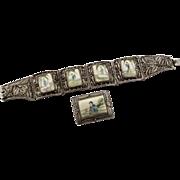 Vintage Chinese Bone Scrimshaw Bracelet, Brooch & Ring