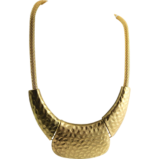 Large Eye Catching Gold Colored Hammered Metal Necklace
