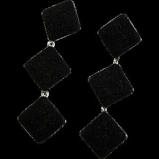 Amazing Long Black Velvet Light Weight Earrings