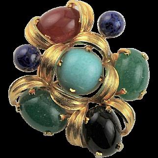 Multi Colored Made in Austria Faux Gemstone Brooch