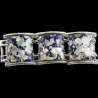 Large Lucite Blue Confetti Bracelet
