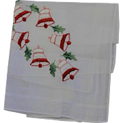 Vintage Made In Switzerland White Cotton Hankie With Christmas Bells