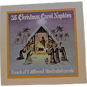 Box Of Vintage Napkins With Christmas Carols On Each One
