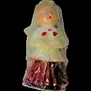 Vintage Red & White Caroler Candle In OriginalCellophane Wrap