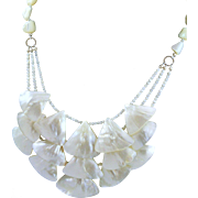 OOAK White Triangular Mother Of Pearl Wedding Necklace