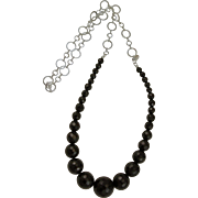 Artisan Designed Graduated Faceted Black Onyx & Sterling Chain