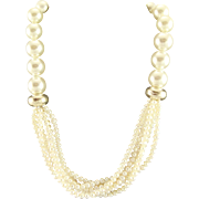White Multi Strand Freshwater Pearl Necklace