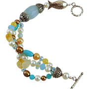 OOAK Amazonite, Citrine, Freshwater Pearls, Chalcedony, Crystals Sterling Fish Bracelet