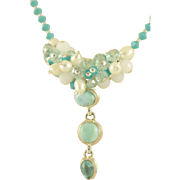 Designer Signed Larimar Pendent, Turquoise Swarovski Crystals, White Freshwater Pearls & Crystals Necklace