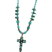 Artisan Signed Hand Crafted Turquoise Necklace With Native American Made Sterling Cross