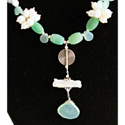 Hand Crafted Pendent With Fancy White & Light Gray Grade AAA Fancy Keishi Pearls & Chrysoprase Necklacde