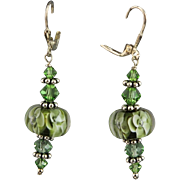 Olive Green Lamp Work Flower Beads, Swarovski Crystal & Sterling Earrings