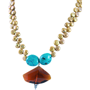 Designer Signed Large Amber Colored Crystal, Natural Turquoise & Gold Freshwater Pearl Necklace