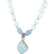 Designer Signed Larimar & Sterling Pendent, Aquamarine & White Fresh Water Pearl Necklace