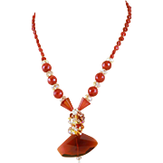 Designer Signed OOAK Carnelian & Crystal Necklace