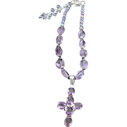 Designer Signed OOAK Amethyst With A Spiritual Cross Sterling Pendent Necklace