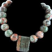 OOAK Red Creek Jasper Large Bead Necklace
