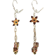 Gita Maria Tiny Enamel Sterling Flower Charm & Swarovski Crystal Earrings