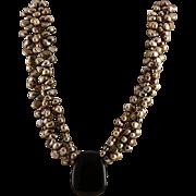 Designer Signed Golden Pearls & Black Onyx Pendent Sterling Necklace