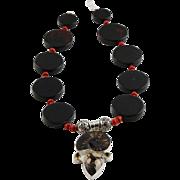 Designer Signed Ammonite Fossil & Sterling Pendent Black onyx Necklace