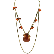 Designer Signed OOAK Carnelian Pendent & 14 KGF Chain Necklace