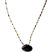 Designer Signed Semi-Precious Gemstones & Carved Black Onyx Pendent