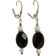 OOAK Faceted Black Onyx , White Freshwater Pearls & Sterling