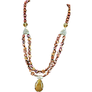 One Of A Kind Designer Made Copper Colored Keishi Pearls, Rutilated Quartz Pendent, Sterling Silver Necklace