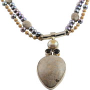Artisan Made Fossil Coral, Smokey Topaz, Pearls, Picture Jasper Necklace
