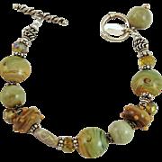 Designer Signed OOAK Lamp Work Bead, Fossil Coral & Green Opal Bracelet