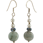 OOAK Designer Amazonite, Crystals, White Freshwater Pearls & Sterling Earrings