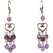 Designer Hand Constructed Sterling & Amethyst Bead Earrings