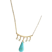 Designer Signed 14 KGF Natural Sleeping Beauty Turquoise, White Freshwater Pearls Chin Necklace